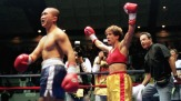 9 Oct 1999: Margaret McGregor celebrates the ring during the fight against Loi Chow at the Mercer Arena in Seattle, Washington. Mandatory Credit: Otto Greule Jr. /Allsport