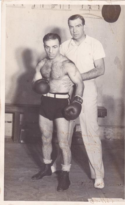 Petey Sarron with trainer