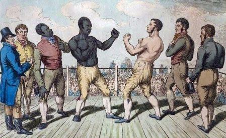 Black man vs. White man illustration in early barefist boxing pose