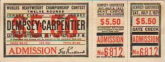 Jack Dempsey/Georges Carpentier Admission Ticket