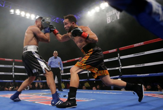 """Boxer Patricio """"Cacahuate"""" Manuel boxes Hugo Aguilar in the fourth round of their super featherweight four round bout during a Golden Boy Fight Night at Fantasy Spring Resort Casino in Indio on Saturday, December 8, 2018. (Photo by Terry Pierson, The Press-Enterprise/SCNG)"""